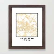 AMSTERDAM NETHERLANDS CITY STREET MAP ART Framed Art Print