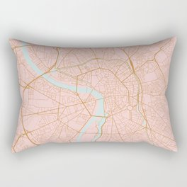 Pink and gold Toulouse map, France Rectangular Pillow