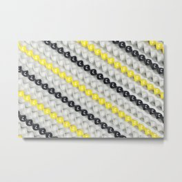 White, black and yellow spirals Metal Print