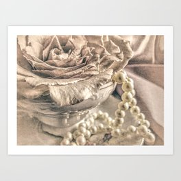 Roses Tea Pearls Still Life Modern Cottage Modern Country A431 Art Print