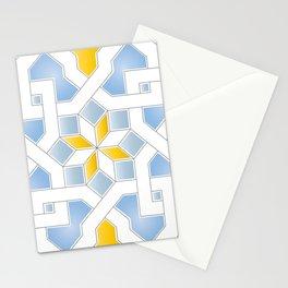 Oriental Pattern - Oriental Design - yellow blue Stationery Cards