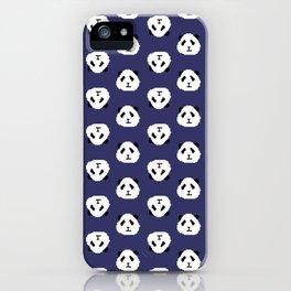 Blue Pixel Panda Pattern iPhone Case