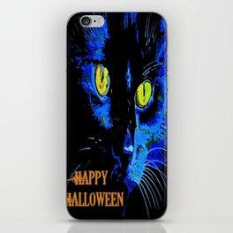 Black Cat Portrait with Happy Halloween Greeting  iPhone Skin