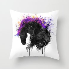 Horse Head Watercolor Silhouette Throw Pillow