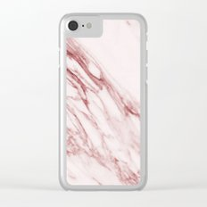 Marble Pattern - Pink Marble Swirl Texture Clear iPhone Case