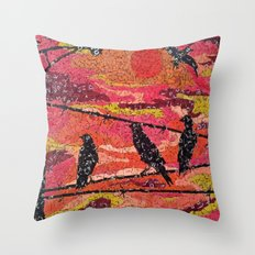 Birds on a Wire - Vintage Scrabble Tile Mosaic Throw Pillow