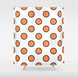 Geometric Orbital Candy Dot Circles - Citrus Orange & Black on White Shower Curtain