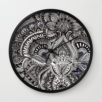 zentangle Wall Clocks featuring zentangle by paucarbajal