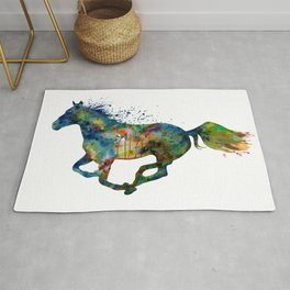 Colorful Running Horse Silhouette Rug