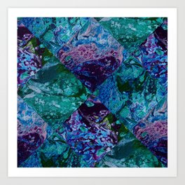 Psycho - Patchwork Quilt with Alternating Blue, Green, Purple Colors by annmariescreations Art Print
