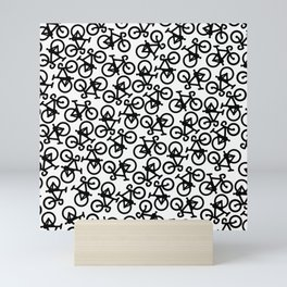 Black Bikes Pattern Mini Art Print