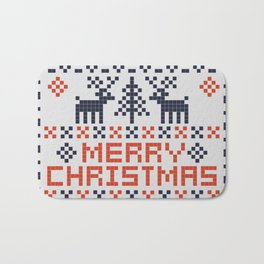 Pixel Merry Christmas - Deers and Trees - Red and Dark Blue Bath Mat