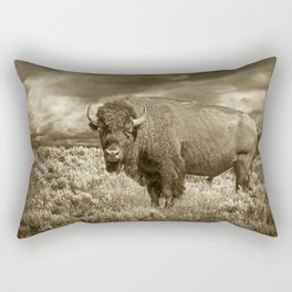 American Buffalo in Sepia Tone Rectangular Pillow