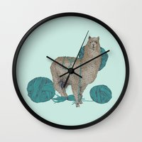 lama Wall Clocks featuring Lama by Anoukisch