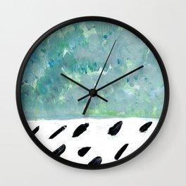 Teal abstract and black rain Wall Clock