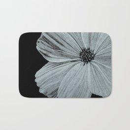 Black & White Cosmos Flower Illustration Bath Mat