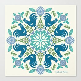 Blue Roosters Canvas Print