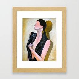 Female with black vest Framed Art Print