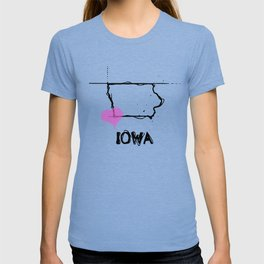 Love Iowa State Sketch USA Black Art Tees T-shirt
