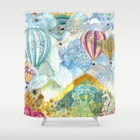 ballon Shower Curtains featuring Hot Air Ballon by Kristen Dahms