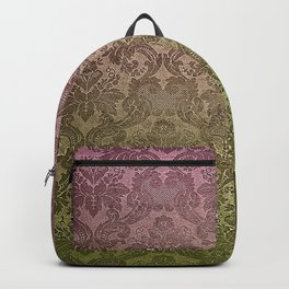 Vintage Pastel Pink and Green Damask Pattern Backpack
