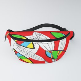4 colors Organic objects on Red Fanny Pack