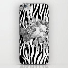 Vintage elegant black white floral zebra animal print collage iPhone Skin