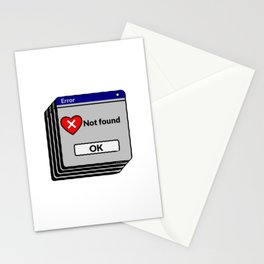 Heart Not Found, Sarcastic Windows Error Stationery Cards