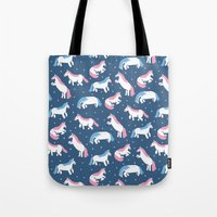 unicorns Tote Bags featuring Unicorns by Sara Maese