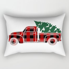 Buffalo plaid Christmas tree truck Rectangular Pillow