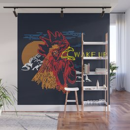 Wake Up Monoline Rooster Graphic Wall Mural