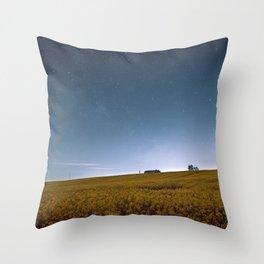 Barn Under Blue Over Yellow Throw Pillow