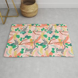 Lemurs in Pink Jungle Rug