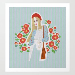 Girl On Camilia Art Print