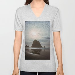 A Lonely Walk on Cannon Beach - Holga Film Photograph of Haystack Rock Unisex V-Neck