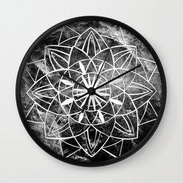 Star Mandala on Enigmatic Black Marble #1 #decor #art #society6 Wall Clock