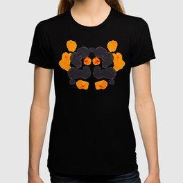 Orange & Black Inkblot Rorschach Diagram T-shirt