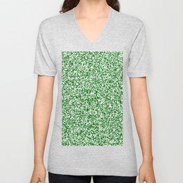 Tiny Spots - White and Dark Green Unisex V-Neck