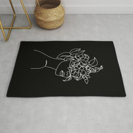 The Girl with the Flowers: Black & White Edition Rug