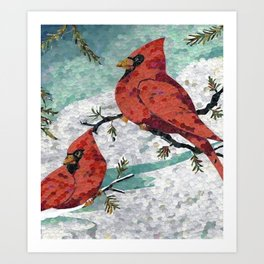 Cardinals In Winter Art Print