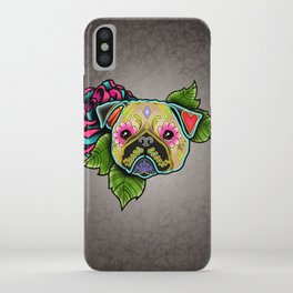 Pug in Fawn - Day of the Dead Sugar Skull Dog iPhone Case