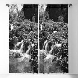 cascades at plitvice lakes national park croatia bw Blackout Curtain