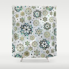 Festive Golden Abalone Shell Snowflake pattern Shower Curtain