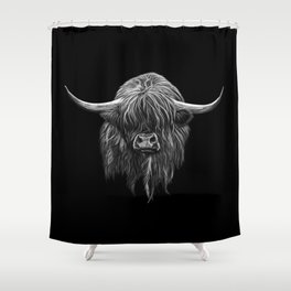 Scottish Highland Cow (bw) Shower Curtain