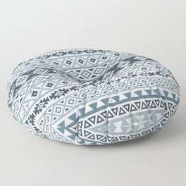 Aztec Stylized Pattern Gray-Blues & White Floor Pillow