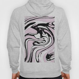 Black, White and Pink Graphic Paint Swirl Pattern Effect Hoody