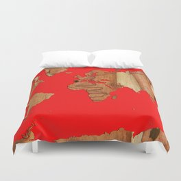 Wood bark - Red - Organic World Map Series Duvet Cover