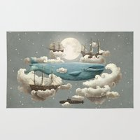 castle in the sky Area & Throw Rugs featuring Ocean Meets Sky by Terry Fan