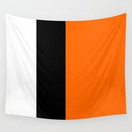 Modern White Black Orange Colorblock Wall Tapestry