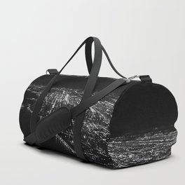 Chicago Skyline. Airplane. View From Plane. Chicago Nighttime. City Skyline. Jodilynpaintings Duffle Bag